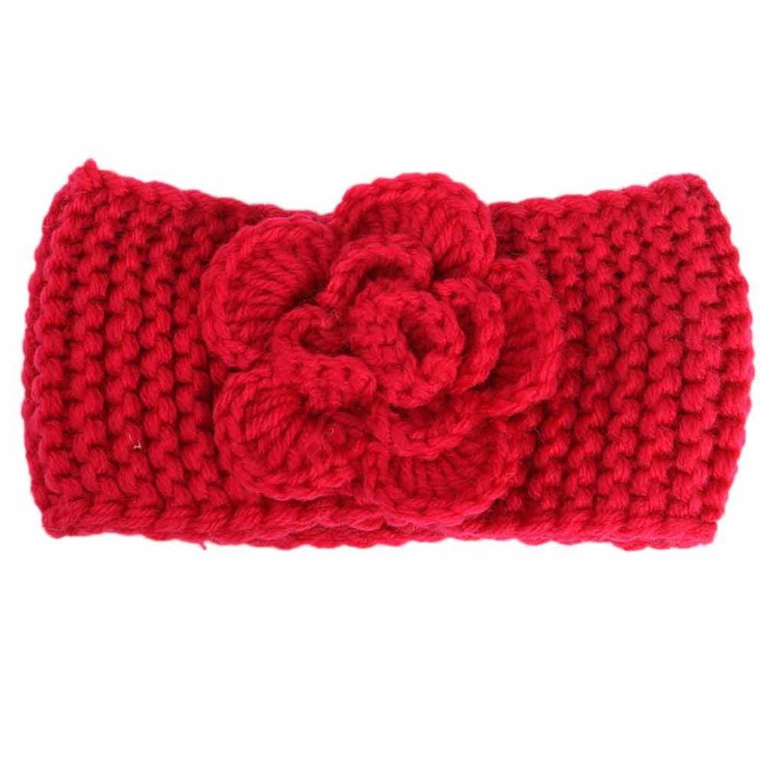 BZLine® Fleur Keep Warm Bandeaux Hiver en Laine Tricotée Couleur Unie pour Bébés 3 Mois - 4 Ans BZL-01