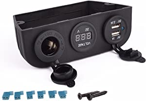 IZTOSS 12-24V car Dual Marine Cigarette Lighter Splitter Power Adaptor Sockets + USB Charger