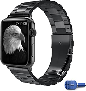 Hovinso for Apple Watch Band 42mm,iwatch Stainless Steel Strap for Apple Watch Series 3, Series 2, Series 1, Sports & Edition, with Double Button Folding Clasp - Black