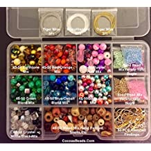 Cocoa's Beads Starter Variety Jewelry Making Bead Kit, Crystals,lamp Work Beads,findings,tibetan,gold & Silver Plated Chains, Bead Box, Basic Beading Instructions,