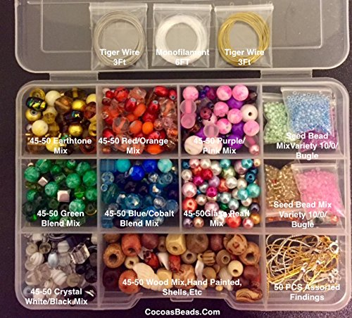 Cocoa's Beads Starter Variety Jewelry Making Bead Kit, Crystals,lamp Work Beads,findings,tibetan,gold & Silver Plated Chains, Bead Box, Basic Beading Instructions, ()