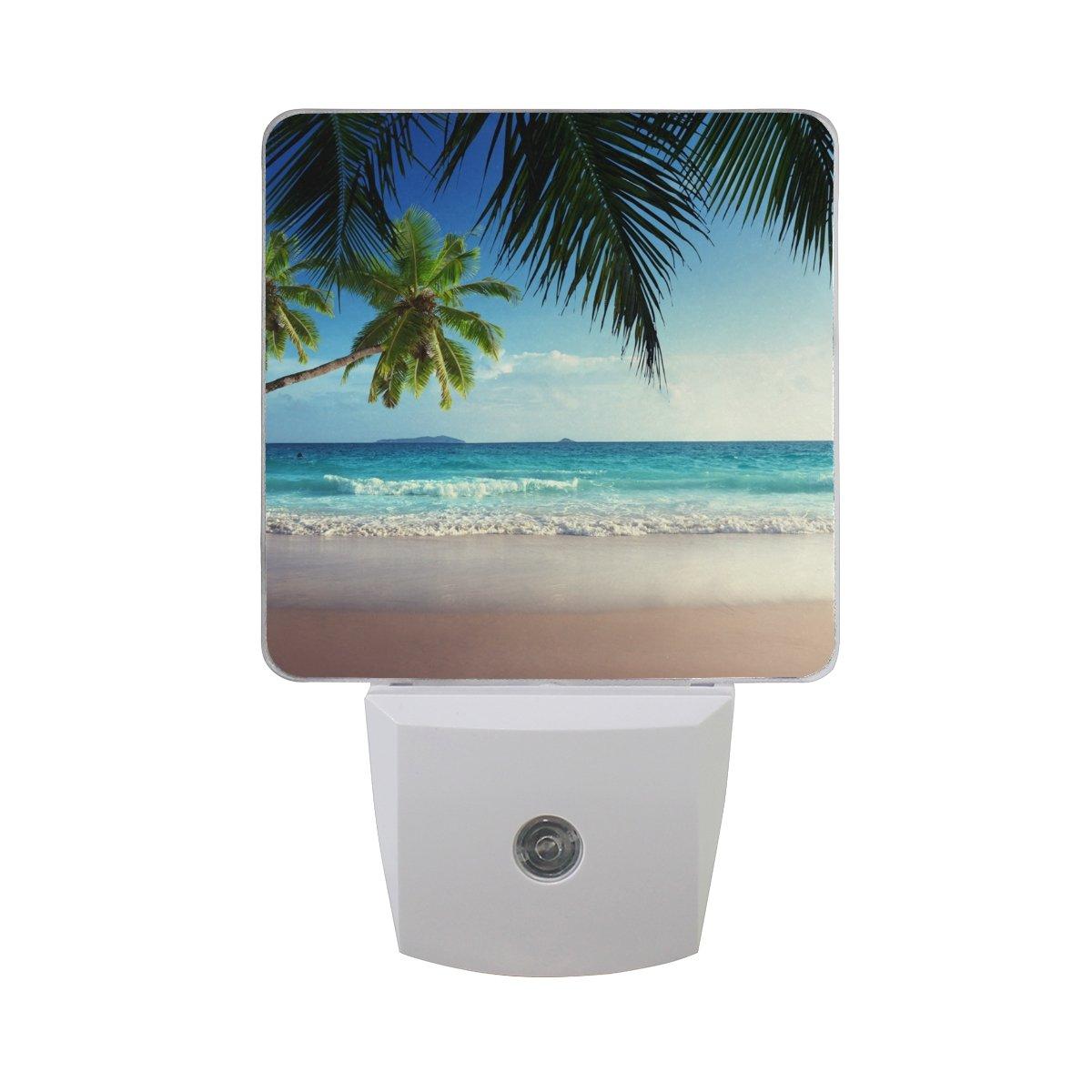 wihve夜間ライトセンサーLED Dusk to Dawn Palm Tree Beach SeawaveホワイトクラウドとブルースカイプラグインDreamベッドランプ B07D13MGYV 26559