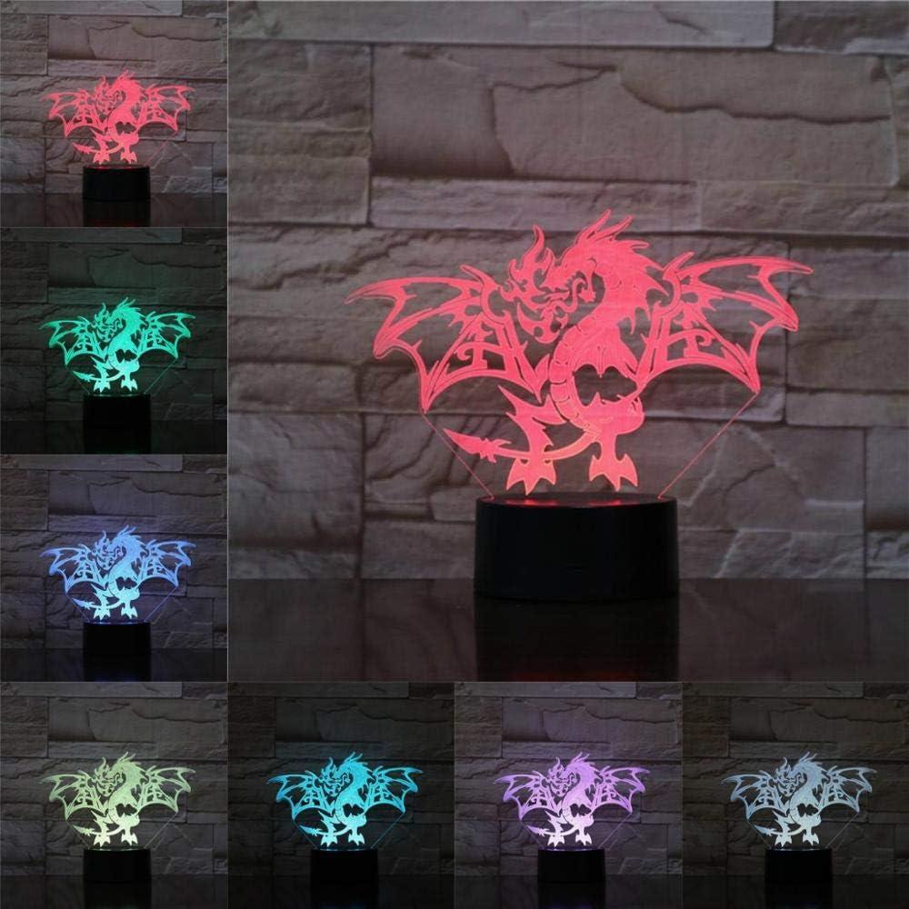 Lámpara de mesa 3D Juguete para niños Regalo Ilusión Luz de noche Bombilla LED USB Multicolor Pterosaurio Iluminación Mesa Luz de noche Niños Regalo de cumpleaños