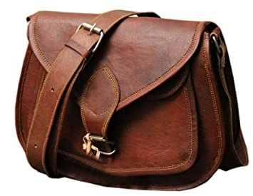 17963cd9e9 Image Unavailable. Image not available for. Color  9 quot  Women s Real Leather  Shoulder Cross Body Satchel Saddle Tablet Retro Rustic Vintage Bag Handbags