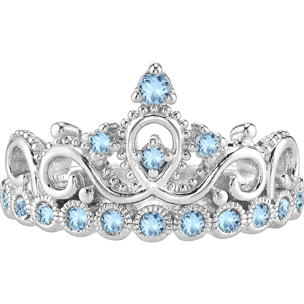 Guliette Verona 14K Gold Crown Ring   Solid 14K White Gold Aquamarine Princess Crown Ring (March) by Guliette Verona