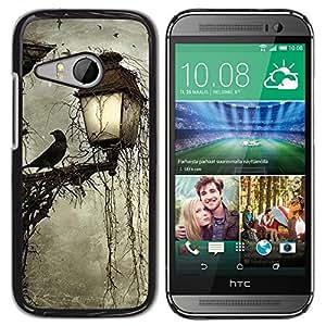 Caucho caso de Shell duro de la cubierta de accesorios de protección BY RAYDREAMMM - HTC ONE MINI 2 / M8 MINI - Lamp Crow Somber Spooky Night