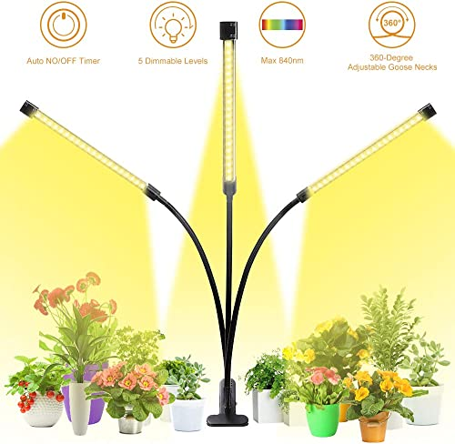 Grow Light,GLIME Full Spectrum Grow Light Auto ON Off Timer 3 6 12H Timing Grow Lamp with 5 Dimmable Levels LED Grow Light for Indoor Plants House Hydroponics Succulent 30W 60LED