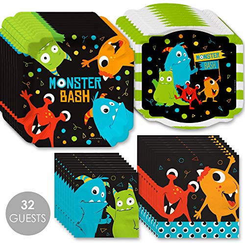 Big Dot of Happiness Monster Bash - Little Monster Birthday Party or Baby Shower Tableware Plates and Napkins - Bundle for 32]()