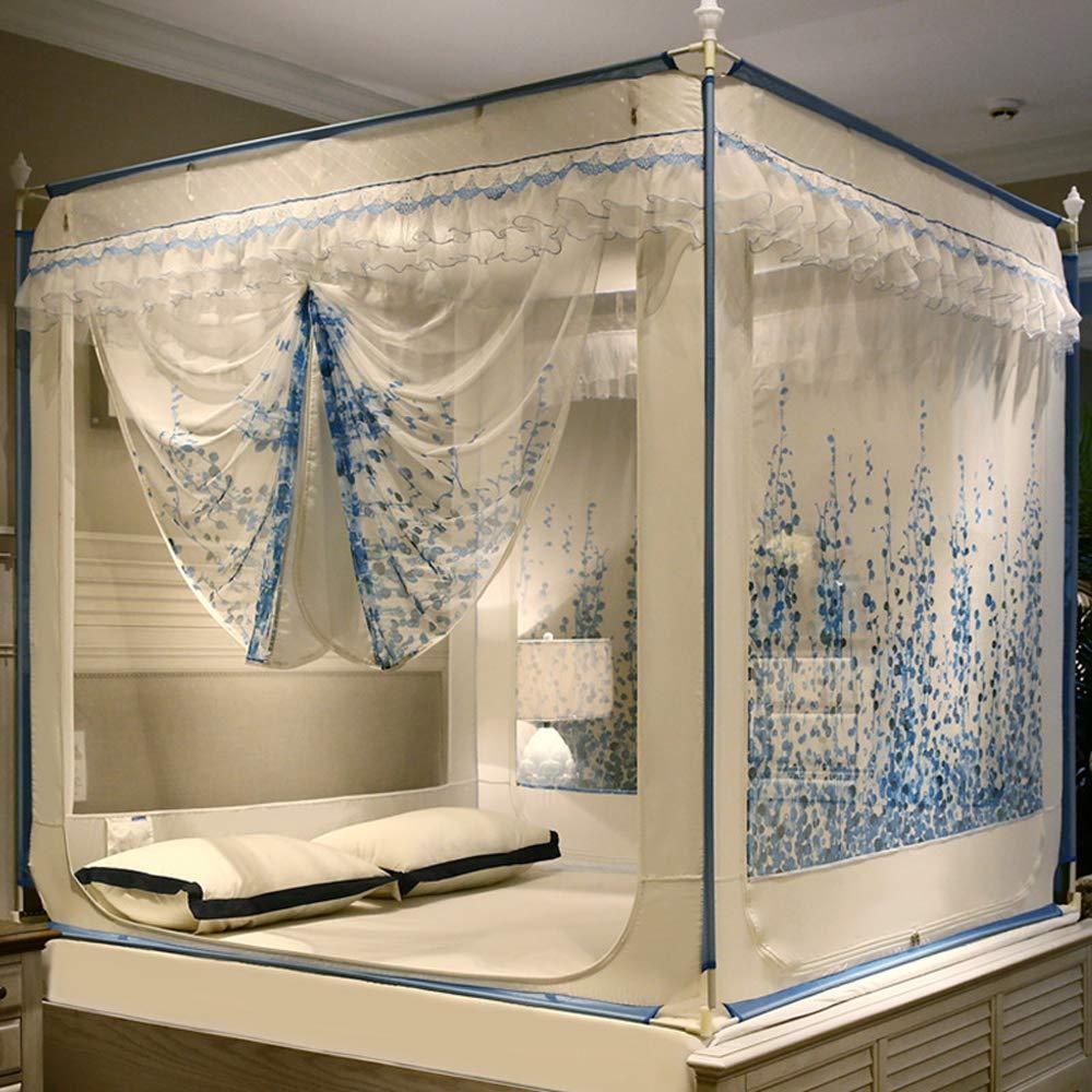 Ropa de Cama para beb/és Resistente a roturas ZY Cremallera de Tres Puertas Princesa Parte Superior Cuadrada mosquitera para Viento mosquitero yurt para el hogar Vides, Azul