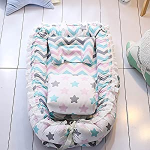 Ukeler Reversible Baby Nest/Bassinet/Lounger for Bed with Baby Quilt- 100% Cotton Portable Crib for Bedroom/Travel – Breathable & Hypoallergenic Co-Sleeping Baby Bed, Suitable for 0-24 Month