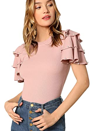 f1a761cdcdf45 Romwe Women s Flutter Ruffle Sleeve Short Sleeve Slim Fit Elegant Blouse  Top Pink XS