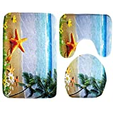 Software : 3pcs/set Bathroom Mats,WM&MW Ocean Style Print Modern Pedestal Rug + Lid Toilet Cover + Bath Mat (B)