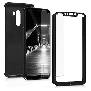 kwmobile Funda para Xiaomi Pocophone F1 - Carcasa Protectora Completa con Cristal Templado - Cover con Protector de Pantalla Duro