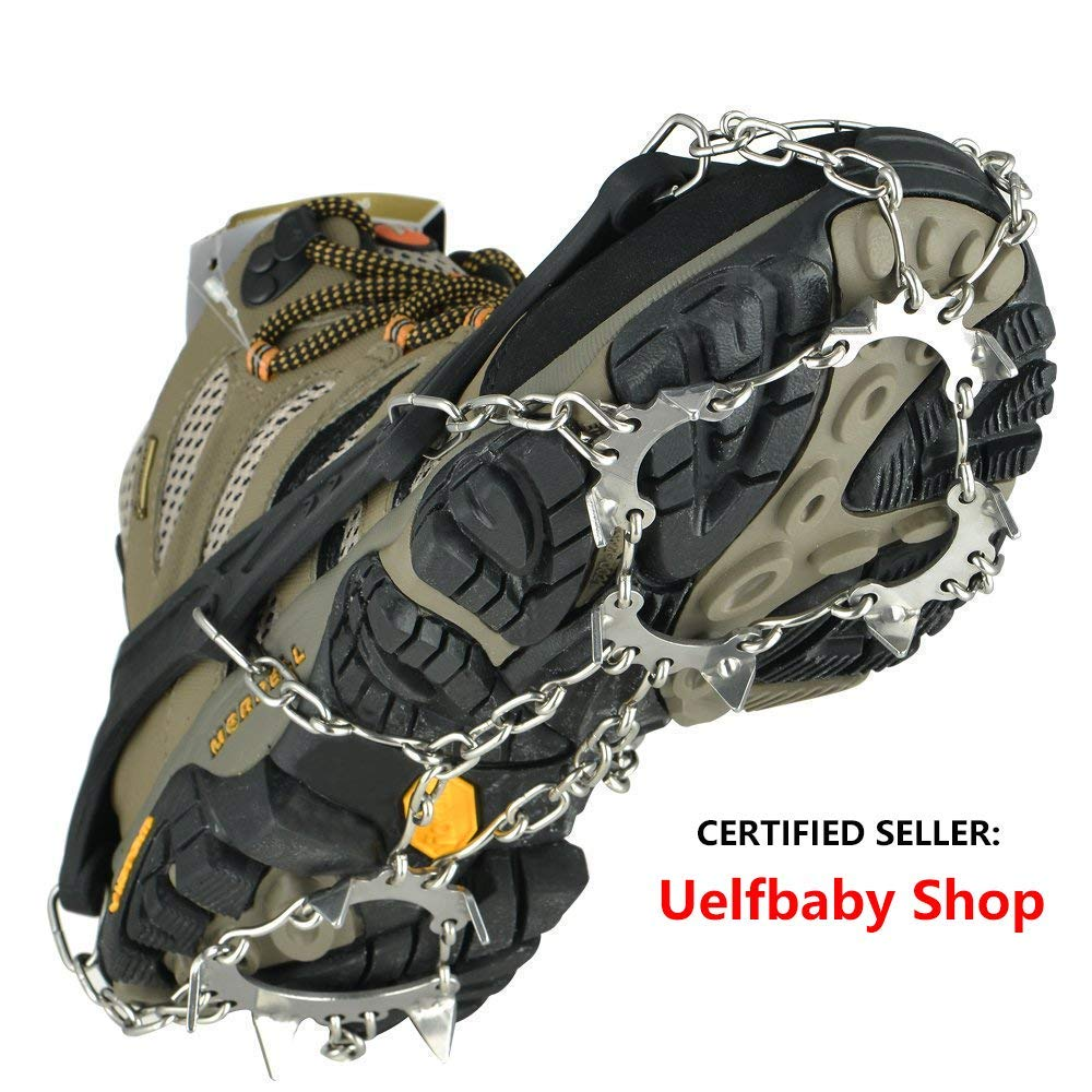 Uelfbaby Crampons Ice Snow Grips Traction Cleats System Safe Protect for Walking, Jogging, or Hiking on Snow and Ice by Uelfbaby
