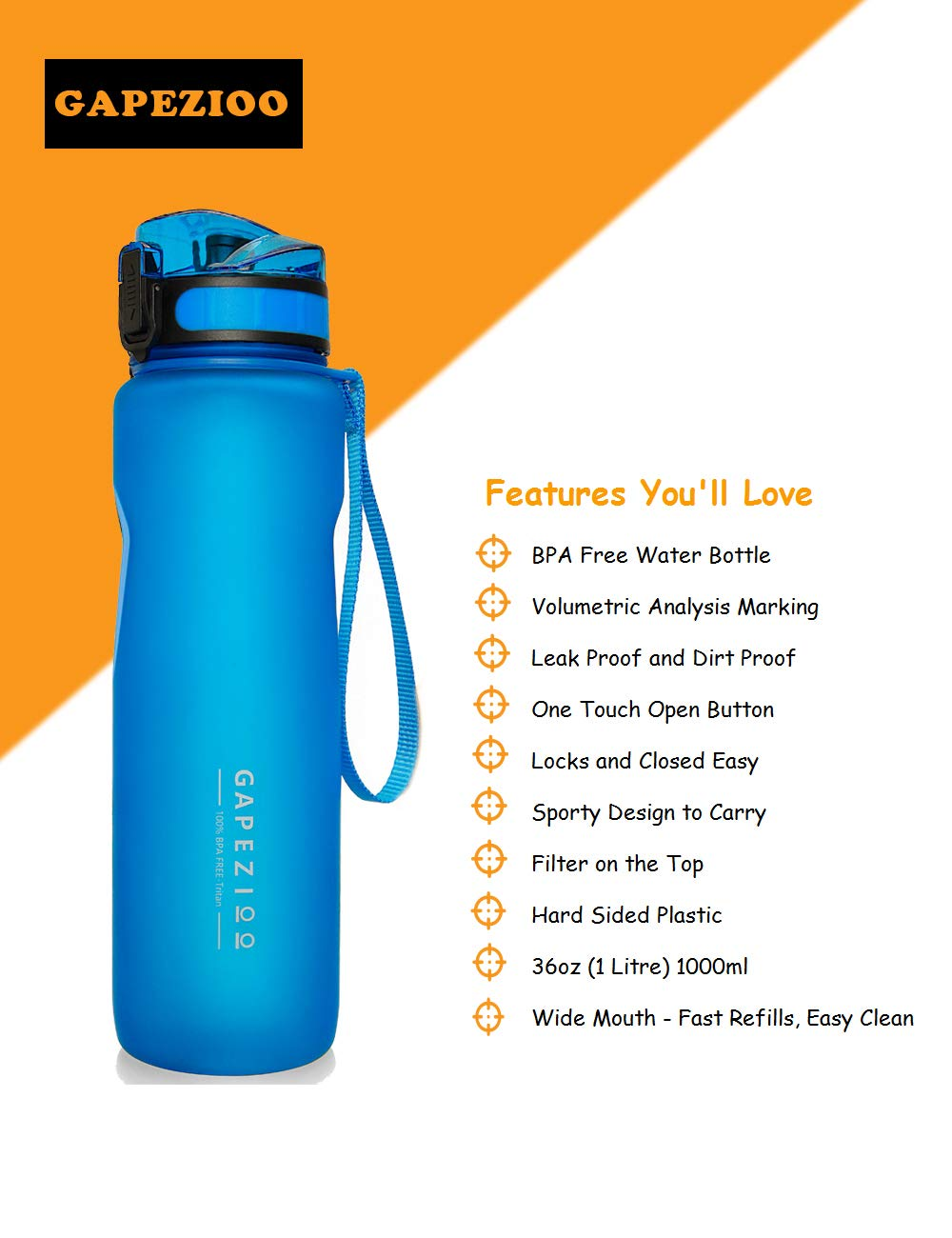 Gapezioo Best 36oz Leak Proof Water Bottle with Filter and Brush BPA Free Non-Toxic Plastic
