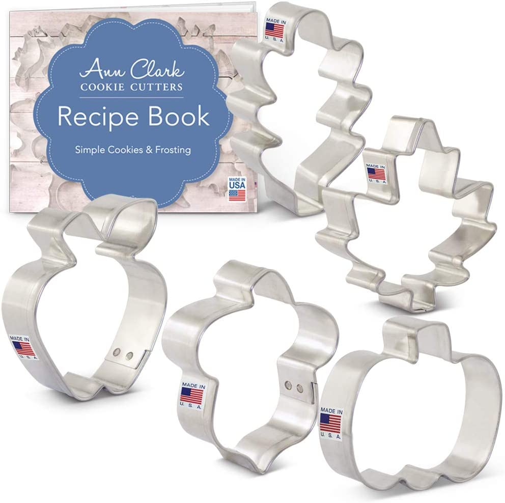Ann Clark Cookie Cutters 5-Piece Mini Thanksgiving Cookie Cutter Set with Recipe Booklet, Mini Maple Leaf, Mini Oak Leaf, Mini Pumpkin, Mini Apple and Mini Acorn