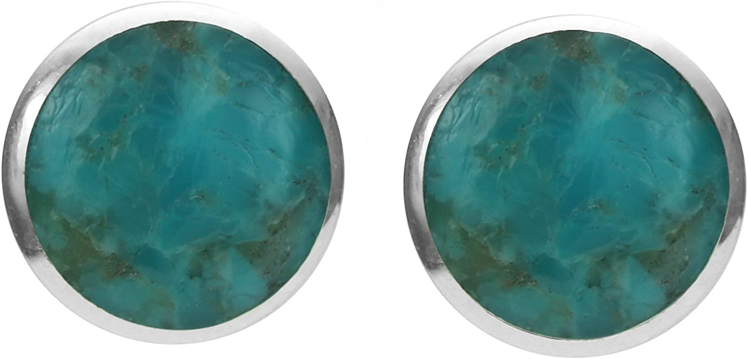 Boma Jewelry Sterling Silver Inlay Circle Stud Earrings