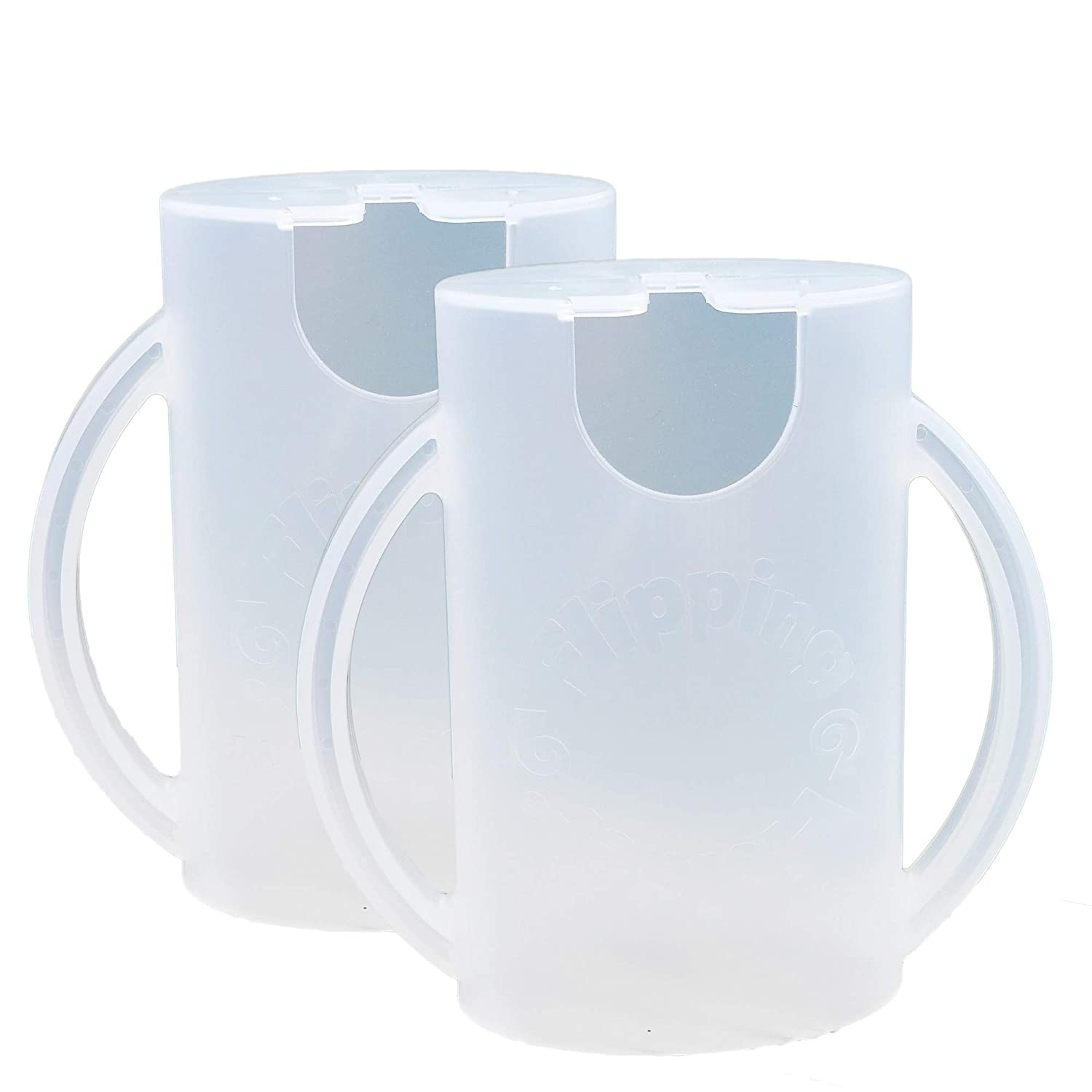 Flipping Holder, Multipurpose Squeeze-Proof Food Pouch Holder and Juice Box Holder (Snow White x2)