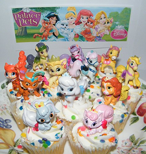 Disney Princess Palace Pets Figure Set of 12 Mini Cake Toppers / Cupcake Party Favor Decorations with Special Princess Temporary Tattoos!