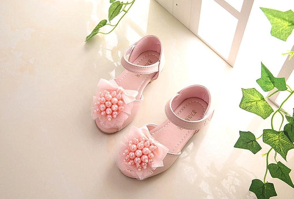 Memela Baby Little Girls Sandals Shoes Pearl Floral Pricness Anti-Slip Crib Flat Sandals