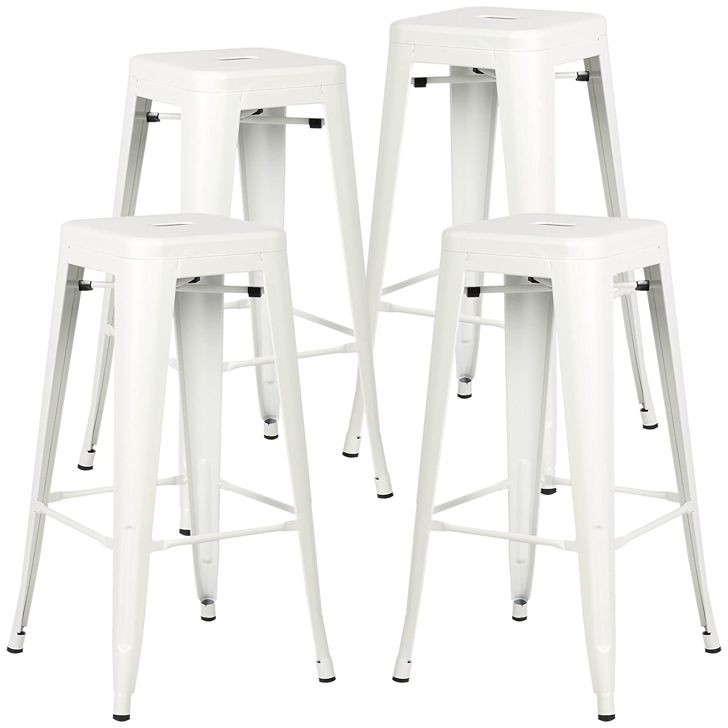 Poly and Bark Trattoria 30 Inch Metal Bar Counter Stool, Industrial, Backless, Stackable in White Set of 4