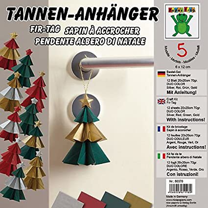 Origami Bastelset Tannen Anhänger 12 Blatt Duo Color Papier