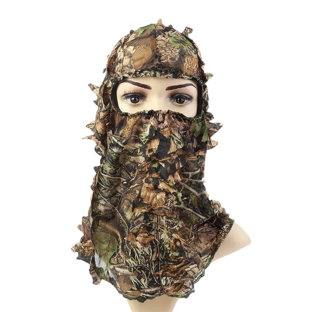 su-luoyu Taktische Kopfhaube Sturmhaube Motorrad Reiten Gesichtsmaske, Vollgesichtsmaske, Im Freien Jagd Tarnungskappe, Blä tter Tarnung Protector Maske