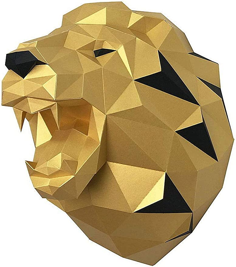 Amazon.com: Paperraz DIY 3D Lion Head Animal PaperCraft Building Kit Wall Mount - NO Scissors Needed: Toys & Games