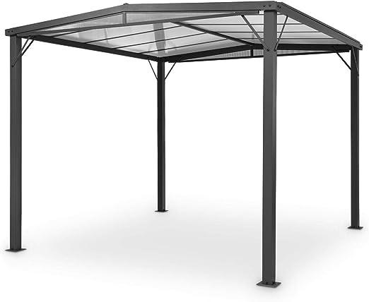 blumfeldt Pantheon Solid Sky Flat Pergola – pabellón techado, 300 x 300 cm, Protegido del Sol y de la Lluvia, Estructura de Aluminio Revestido en Polvo, Techo de policarbonato (PC), Gris Oscuro: