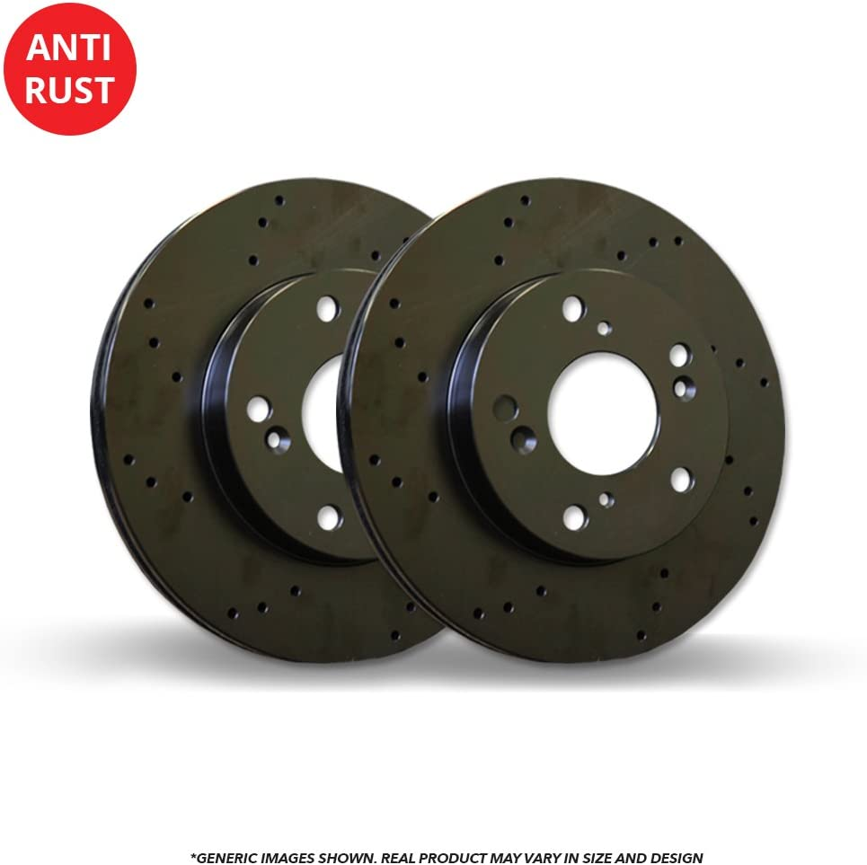 Front Rotors Fits:- Tracker Vitara 2 Black Coated Cross-Drilled Disc Brake Rotors 5lug High-End