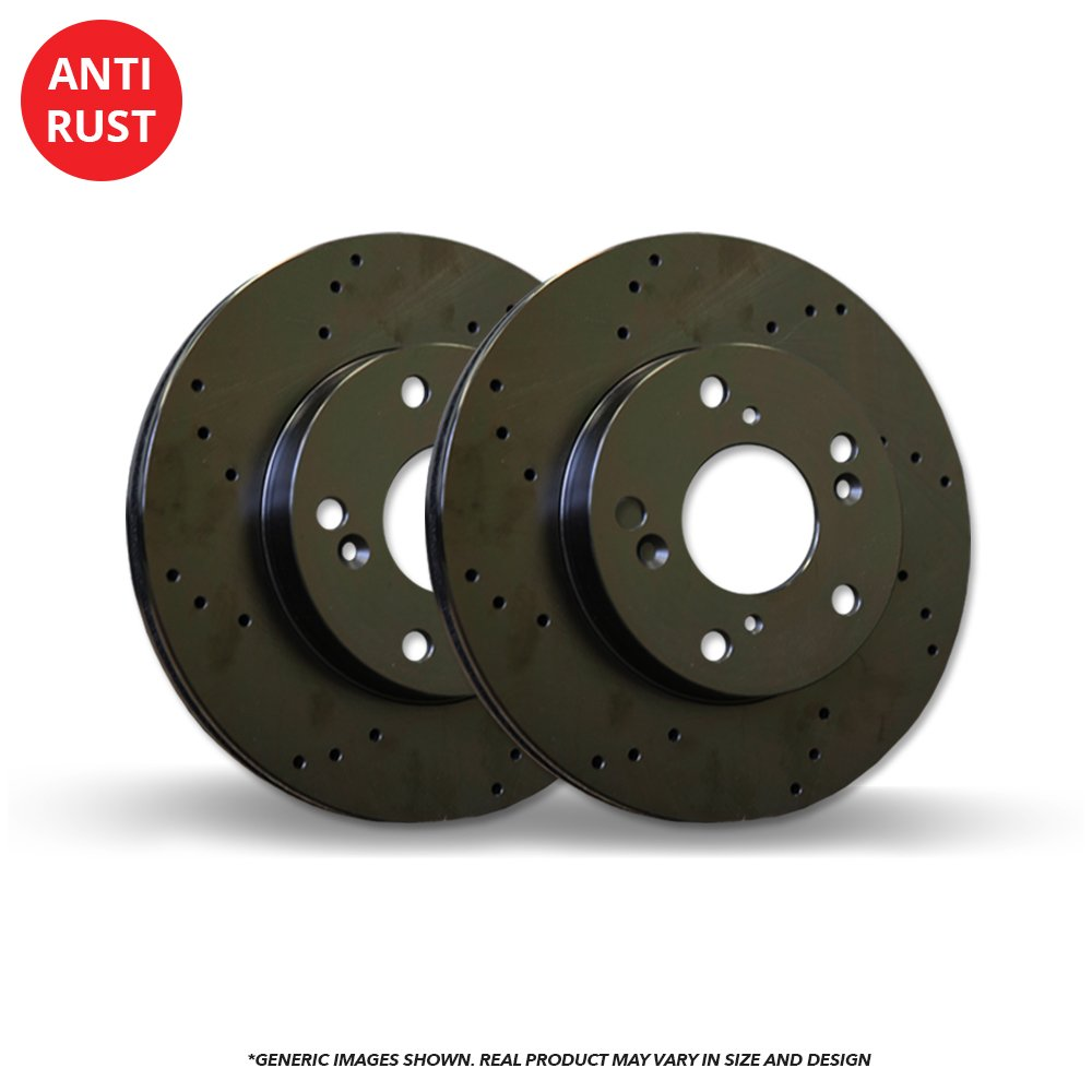 2 Black Coated Cross-Drilled Disc Brake Rotors Heavy Tough-Series 6lug Front Rotors Fits:- GX470 4Runner