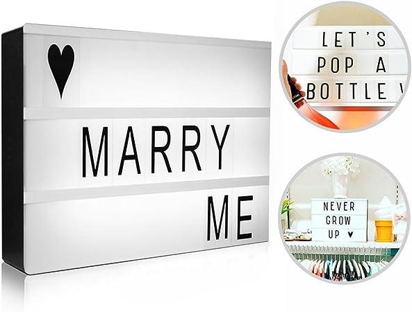 caja de luz con letras, innislink Caja de Iluminación Cinematográfica A4 para Cumpleaños, aniversario, boda, actividades especiales, cine cinematográfica luz: Amazon.es: Hogar