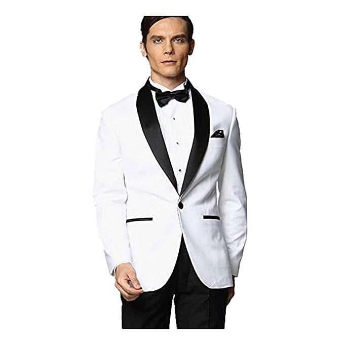 best place elegant in style best service MY'S Men's Custom Made Groomsman Tuxedo White Suit Black Pants Bow Tie Set