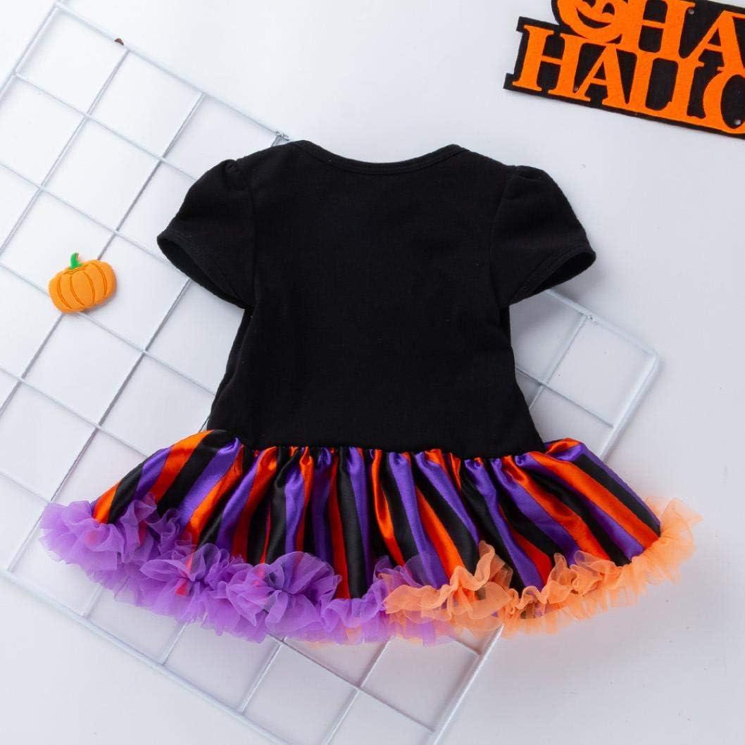 Vinjeely 2pcs Baby Girls Short Sleeve Halloween Clothes Skull Print Stripe Tutu Dress+Headband