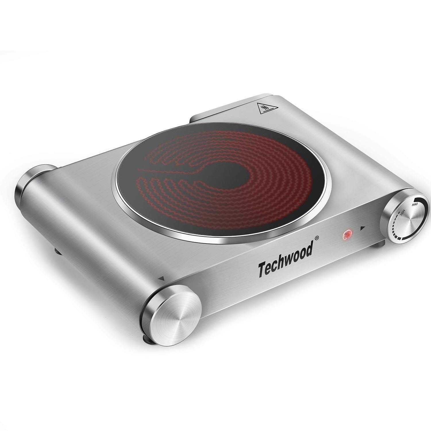 Techwood Hot Plate Electric Burner Single Burner Cast Iron Heating Plate Portable Burner Infrared Ceramic Burner 1200W with Adjustable Temperature Control Non-Slip Rubber Feet Bright Silver Stainless Steel Easy To Clean Upgraded Version ES-3101C