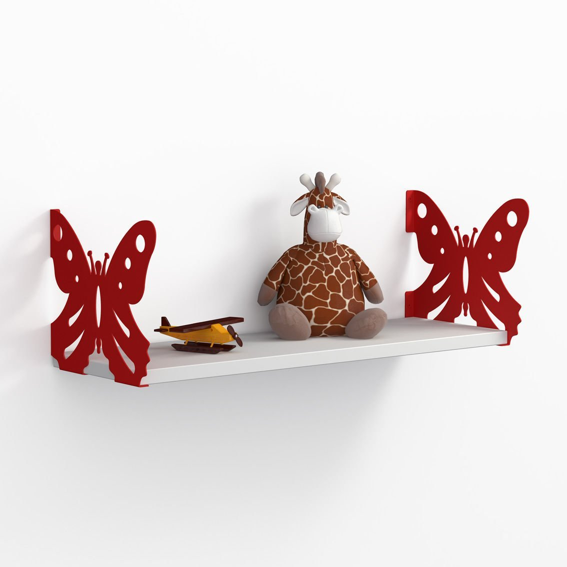 LaModaHome Two Red Butterfly Wall Shelf, 100% Melamine Coated Particle Board - Size (23.6'' x 7.9'' x 7.9''), Easy to Hang with Invisible Brackets, Wall Mounted Floating Shelves for Home & Office