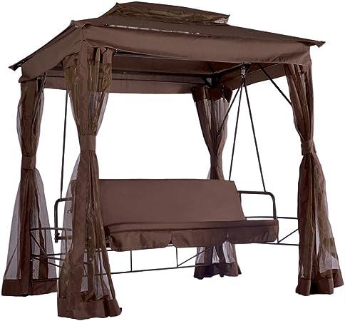 Miadomodo Balancín de jardín (convertible en cama con mosquitera 206 x 166 x 235 cm , marrón: Amazon.es: Jardín