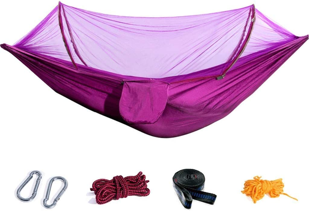Zhihao Resistente al Desgaste de Dormir Hamaca al Aire Libre for Adultos con mosquitera Cubierta Doble Campo Anti-Mosquitos Anti-balanceo.Seguridad (Color: Morado) (Color : Purple)