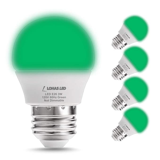 Green LED Light Bulb, LOHAS Decorative Lights 3W LED(25W Equivalent ...