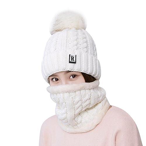 TININNA 2 pezzi Donna Autunno e Invernale Moda Caldo Lavorato a maglia Cappello e Sciarpa Set Berret...