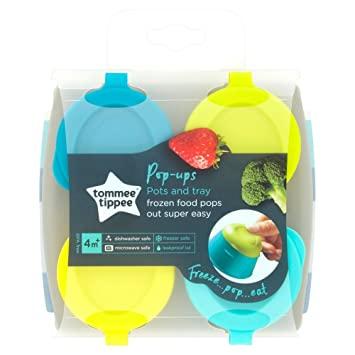 Feeding Cups, Dishes & Utensils Tommee Tippee Explora Baby Pop Up Weaning Pot 2pk 4 Pop Up Freezer Pots & Tray