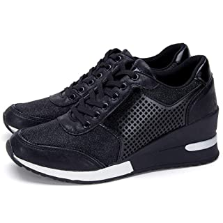 High Heeld Wedge Sneakers for Women - Ladies Hidden Sneakers Lace Up Shoes, Best Chioce for Casual and Daily Wear SM1-BLACK-7
