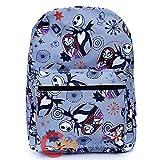 Disney Nightmare Before Christmas Sally & Jack Gray Allover Print 16IN Backpack -Grey