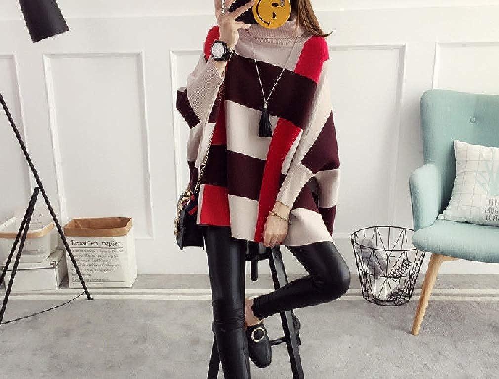 Abetteric Womens Classy Plaid Cape Coats Knit Fall Winter Loose Tops Sweater