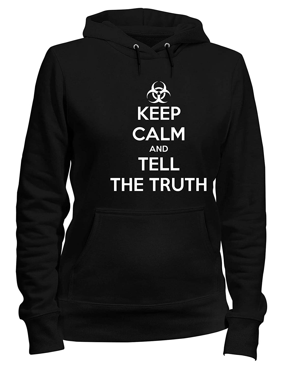 Speed Shirt Felpa Donna Cappuccio Nero TKC1138 Keep Calm And Tell The Truth