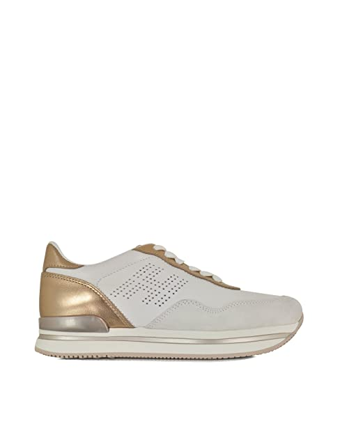 Hogan Sneakers Donna HXW2220Q1403WI09KI Pelle Bianco Oro  Amazon.it ... f8ca975b413