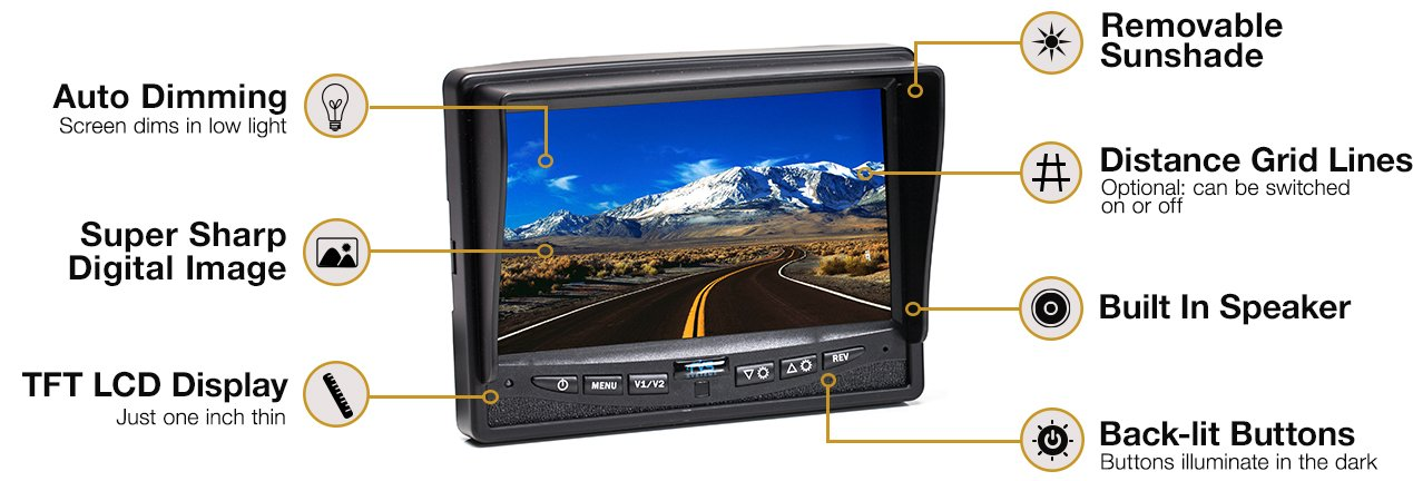 Rear View Safety RVS-770616N Backup Camera System with 7'' TFT LCD Display and Side Cameras