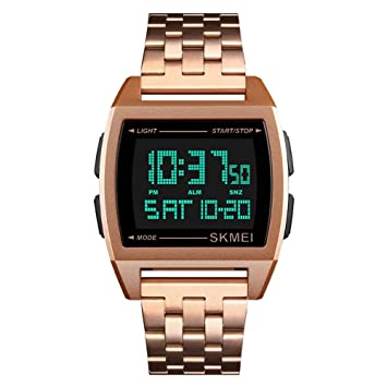 WULIFANG Relojes Deportivos Hombre De Correa De Acero Led Reloj Digital Reloj De Hombre Reloj De Hombre La Rosa De Oro: Amazon.es: Deportes y aire libre