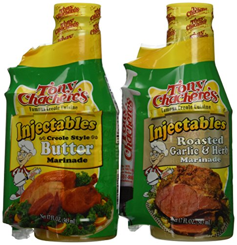 Tony Chachere Injectable Marinade Variety Pack, Butter and Roasted Garlic, 17 Fl. Oz, 3 Count