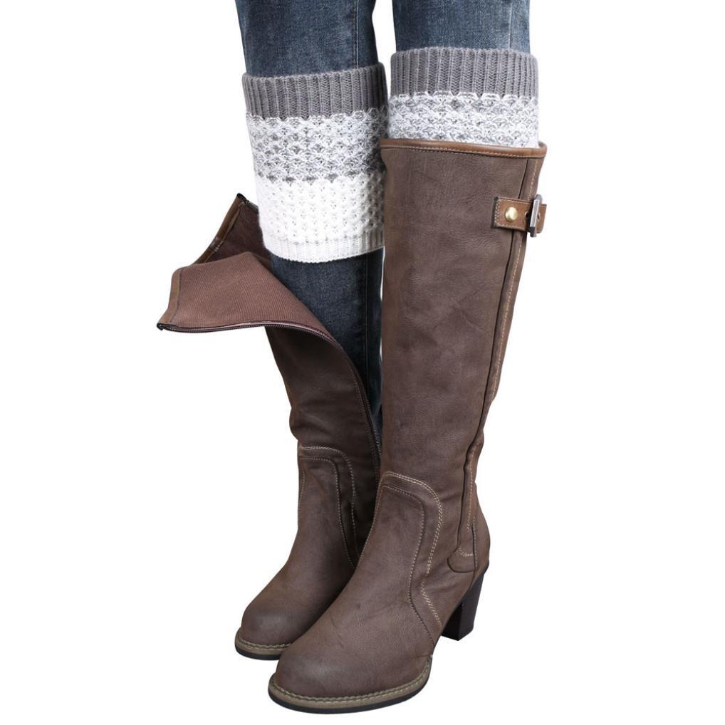 Hot ! Warmers Socks, Ninasill Jacquard Knitted Leg Warmers Socks Boot Cover (Free Size, Gray)